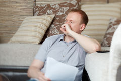 Mature man working at home Stock Photography