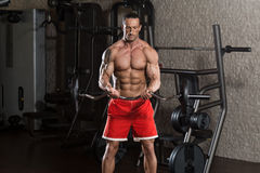 Mature Man Working Out Biceps Stock Images
