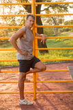 Mature Man Working Out. Mature Man Relaxing Outdoors After a Work Out Stock Images