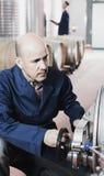 Mature man working on winery Stock Photo