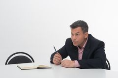 Mature manager at desk Royalty Free Stock Photo