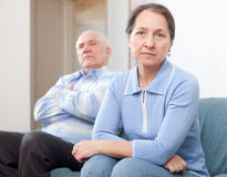 Mature married couple having quarrel royalty free stock images