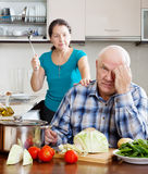 Mature married couple having quarrel Stock Photo