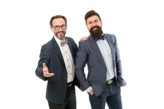 Mature men have own business. partnership of manager men isolated on white. bearded businessmen in formal suit. manager. Business meeting. team success stock images