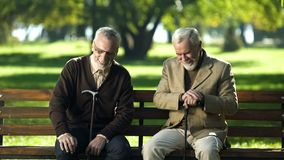 Mature men with walking sticks sitting bench in park laughing talking about life. Stock photo royalty free stock image