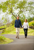 Mature middle age couple in love walking Royalty Free Stock Photography