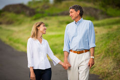 Mature middle age couple in love walking Stock Photography