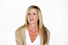 Mature Model Making Faces. On a white background in the studio Royalty Free Stock Images