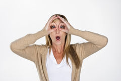 Mature Model Making Faces Royalty Free Stock Images