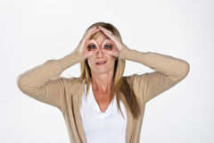 Mature Model Making Faces Royalty Free Stock Photography