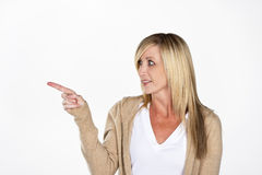 Mature Model Pointing Stock Photo