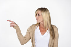 Mature Model Pointing Royalty Free Stock Photo