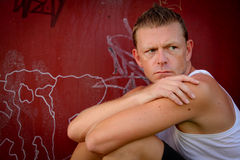 Mature moody man looking into distance. Moody mature man looking into distance royalty free stock photos