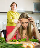 Mature mother and  adult daughter  after quarrel Royalty Free Stock Photography