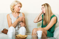 Mature mother and daughter talking Royalty Free Stock Images