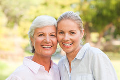 Mature mother with her daughter in the park Stock Photography