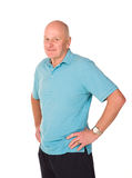 Mature older man stretching during warm up Royalty Free Stock Photography