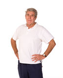 Mature older man stretching during warm up Royalty Free Stock Images
