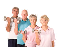 Mature older people lifting weights Stock Images