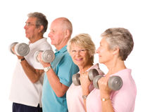 Mature older people lifting weights Royalty Free Stock Image