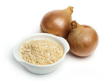 Mature onion and bowl with dried onion powder stock image