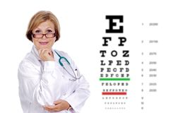 Mature optician with glasses royalty free stock photography