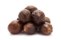 Mature Organic Nutmeg (Myristica fragrans). Royalty Free Stock Photos