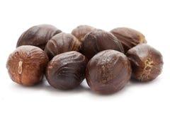 Mature Organic Nutmeg (Myristica fragrans). Stock Photo
