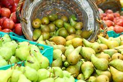 Mature pears in grocery Royalty Free Stock Photo