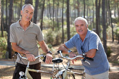 Mature people on bikes Royalty Free Stock Photos