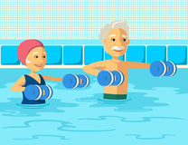 Mature people doing aqua aerobics with foam dumbbell in swimming pool at the leisure center. Elderly couple doing gymnastics physioterapy in water stock illustration