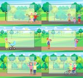Mature People Together Grandparents Sit Ride Walk. Mature people together grandparents sit on bench, walk with newborn boy, play with kids and ride bike, green Stock Images