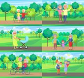 Mature People Together Grandparents Sit Ride Walk. Mature people together grandparents sit on bench, walk with newborn boy, play with kids and ride bike on Royalty Free Stock Photos