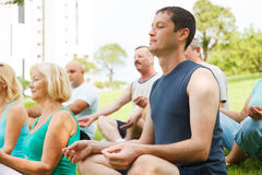 Mature People With Yoga Trainer. Group of People practicing yoga outside royalty free stock photos