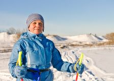 Mature positive lord walking skiing Stock Photography