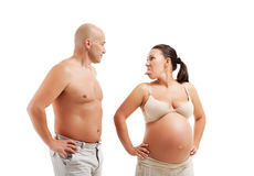 Mature pregnant woman with her husband Royalty Free Stock Image