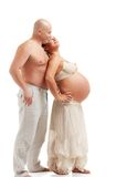 Mature pregnant woman with her husband Royalty Free Stock Photos