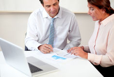 Mature professional couple working on documents Stock Photography