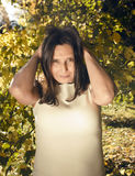 Mature real brunette woman in green spring park, lifestyle concept outside Royalty Free Stock Images