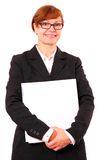 Mature red haired businesswoman with white office folder Stock Images