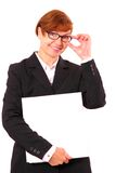 Mature red haired businesswoman with white office folder Stock Photography