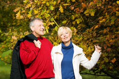 Mature romantic couple in a park Stock Photography