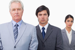 Mature salesman with his employees Royalty Free Stock Photography
