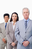 Mature salesman standing with his young employees Royalty Free Stock Photography