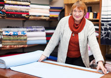 Mature saleswoman measures the fabric. In a fabric shop Stock Image