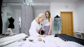 Mature seamstress taking measurements of female client using tape in atelier. Two women in tailoring studio working stock video