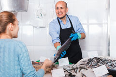 Mature  seller helping female customer to choose fish Stock Photography