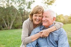 Mature senior couple. Happy senior mature couple in love outside in nature Royalty Free Stock Photography