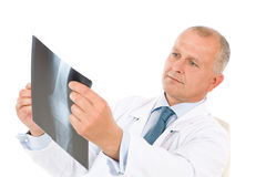Mature senior doctor male hold x-ray sitting Royalty Free Stock Photo