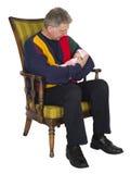 Mature Senior Old Man Grandpa, Baby Grandchild Isolated Royalty Free Stock Photo